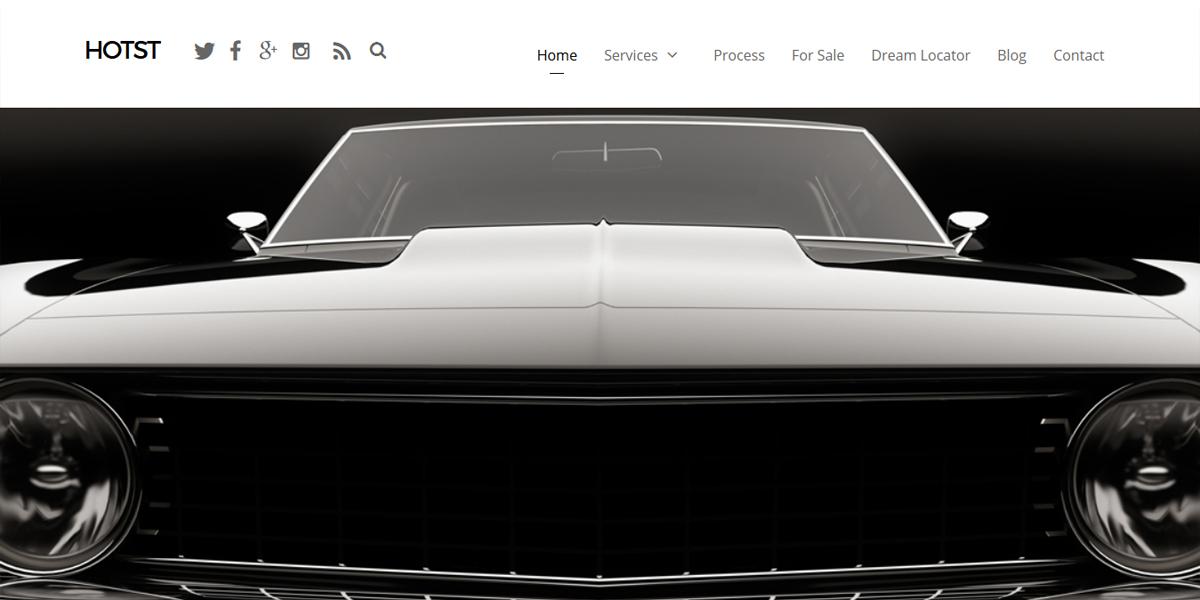 Web Design Portfolio hot rod restoration web design example. Black muscle car image with simple clean design layout