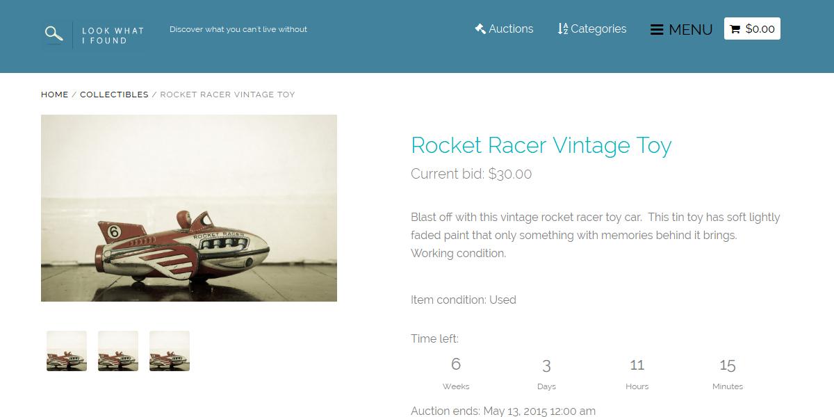 Web Design Portfolio. Soft blue color auction website with simplified UI.