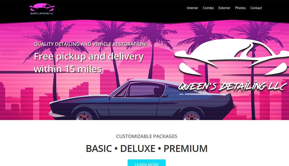 Website Design Portfolio 80s outrun style retro car detailing website