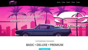 Website Design Portfolio 80s outrun style retro car detailing website